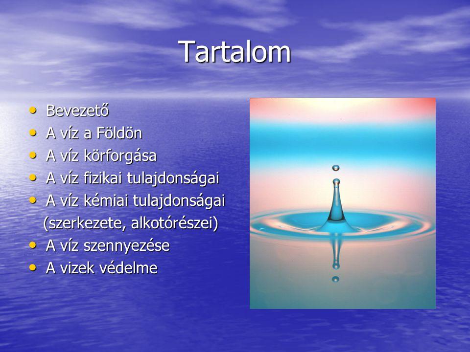 Tartalom Bevezető A víz a Földön A víz körforgása
