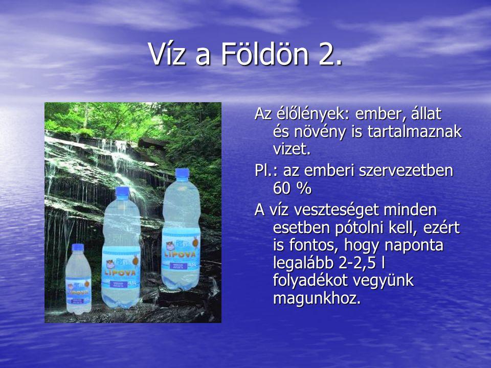 Víz a Földön 2. Az élőlények: ember, állat és növény is tartalmaznak vizet. Pl.: az emberi szervezetben 60 %