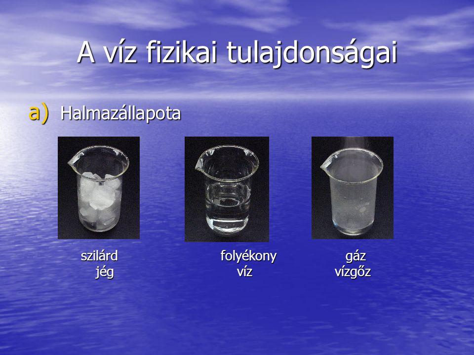A víz fizikai tulajdonságai