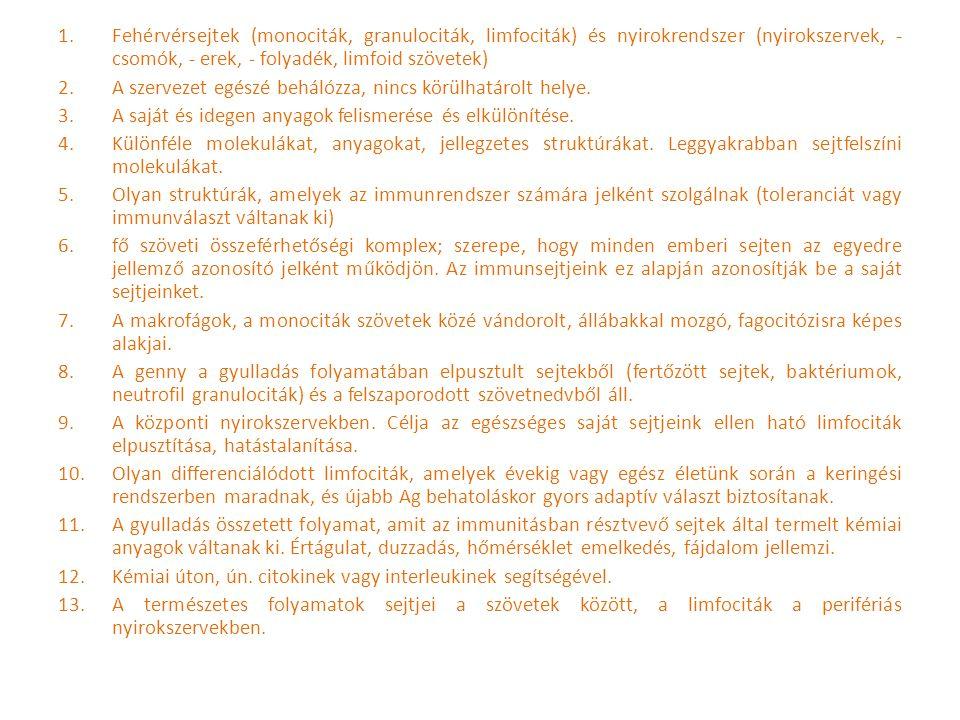 Fehérvérsejtek (monociták, granulociták, limfociták) és nyirokrendszer (nyirokszervek, - csomók, - erek, - folyadék, limfoid szövetek)