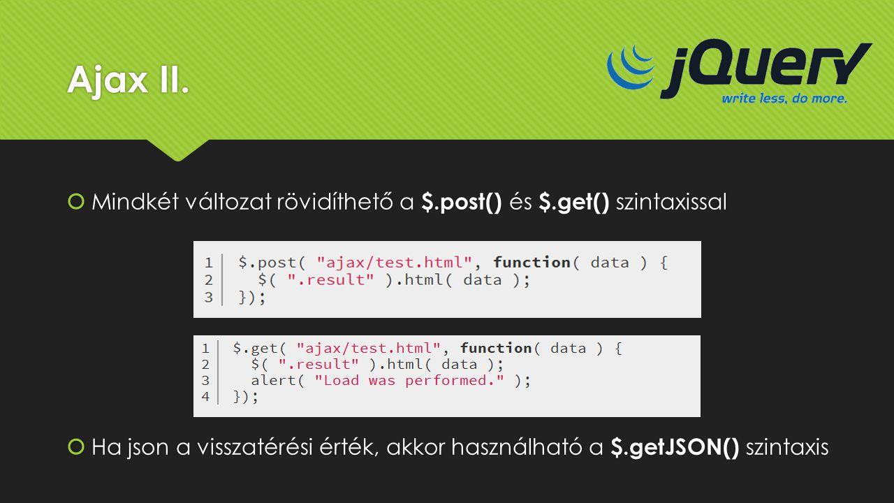 Ajax II. Mindkét változat rövidíthető a $.post() és $.get() szintaxissal.
