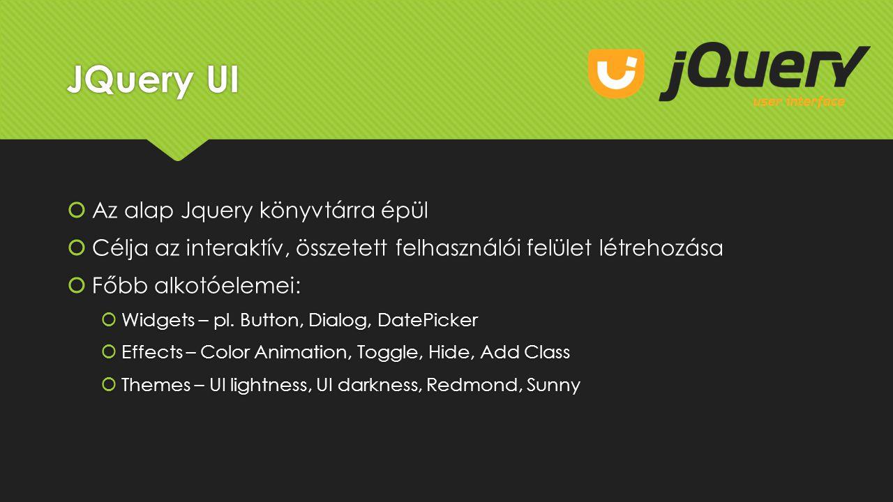 JQuery UI Az alap Jquery könyvtárra épül