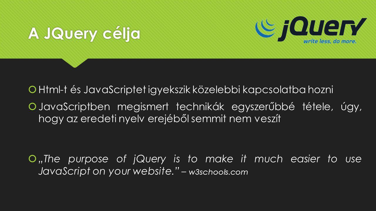 A JQuery célja Html-t és JavaScriptet igyekszik közelebbi kapcsolatba hozni.