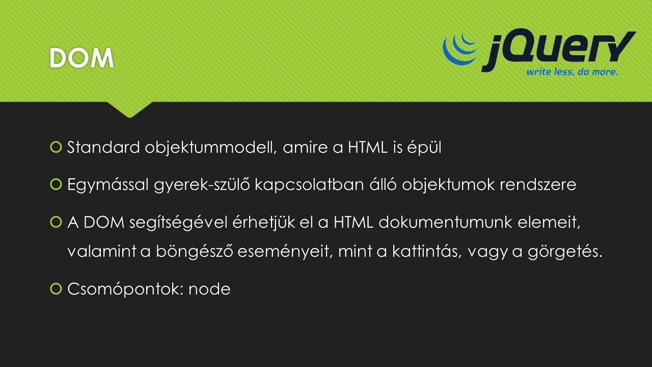 DOM Standard objektummodell, amire a HTML is épül