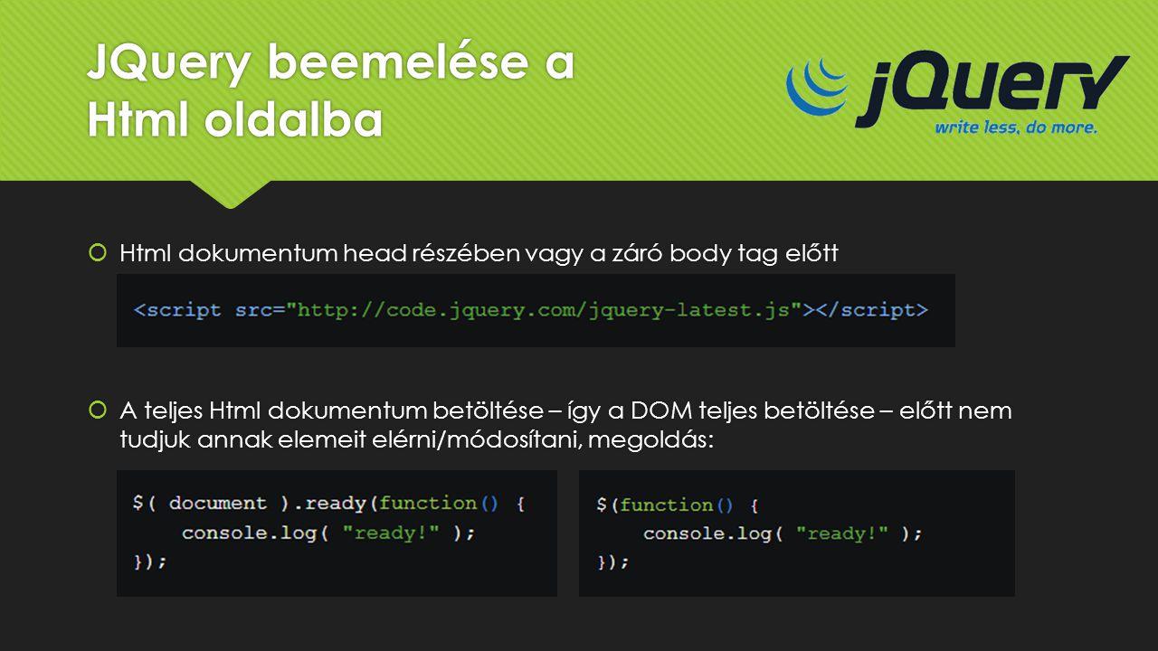 JQuery beemelése a Html oldalba