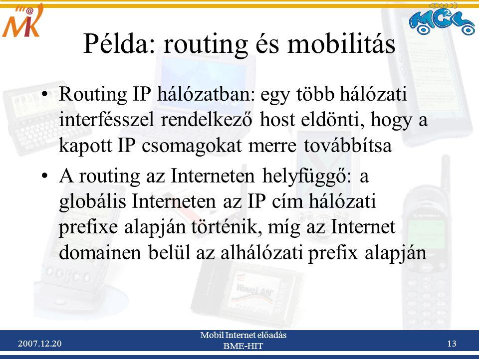 Példa: routing és mobilitás