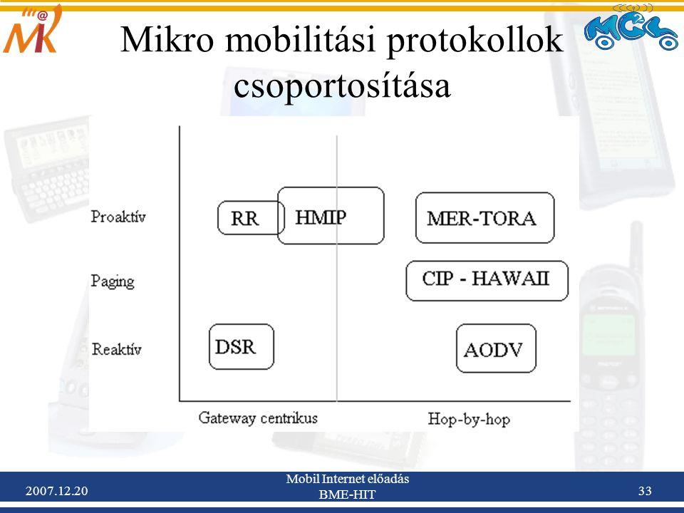 Mikro mobilitási protokollok csoportosítása