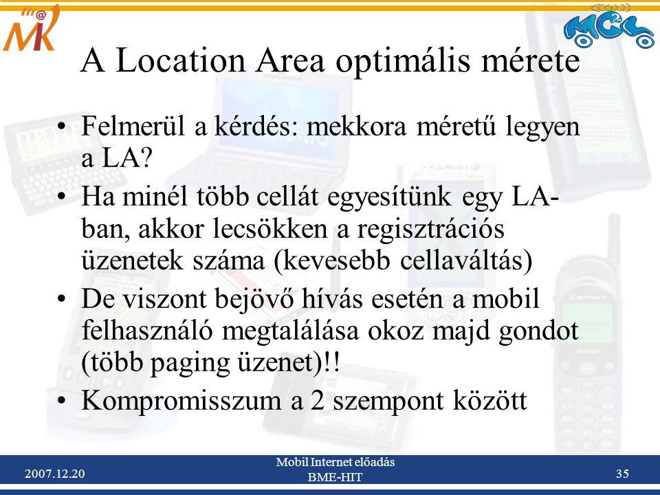 A Location Area optimális mérete