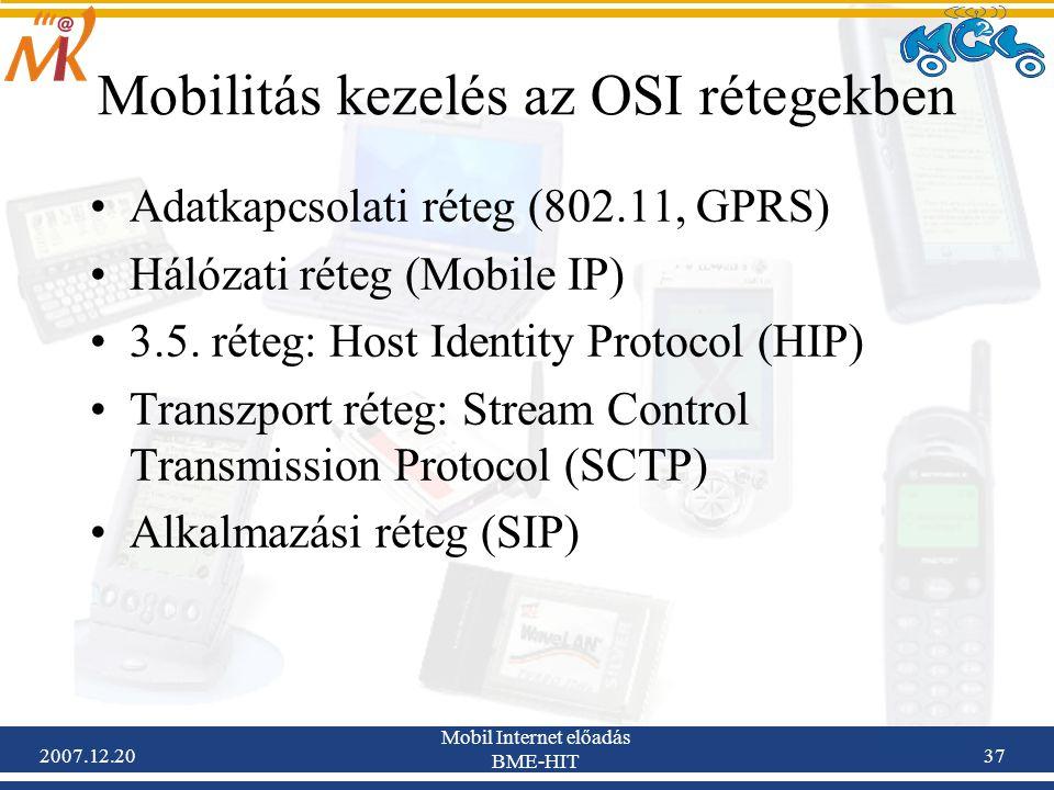 Mobilitás kezelés az OSI rétegekben