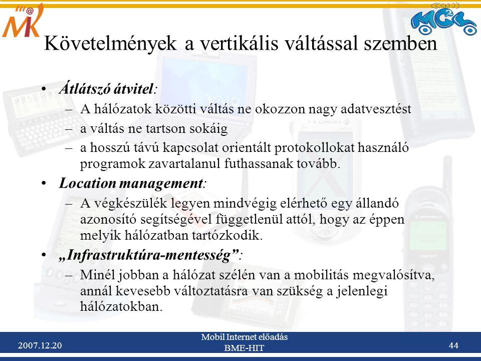 Követelmények a vertikális váltással szemben