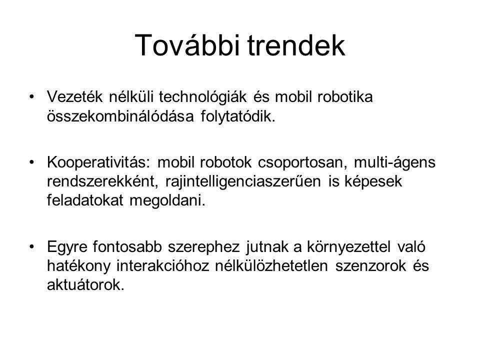 További trendek Vezeték nélküli technológiák és mobil robotika összekombinálódása folytatódik.