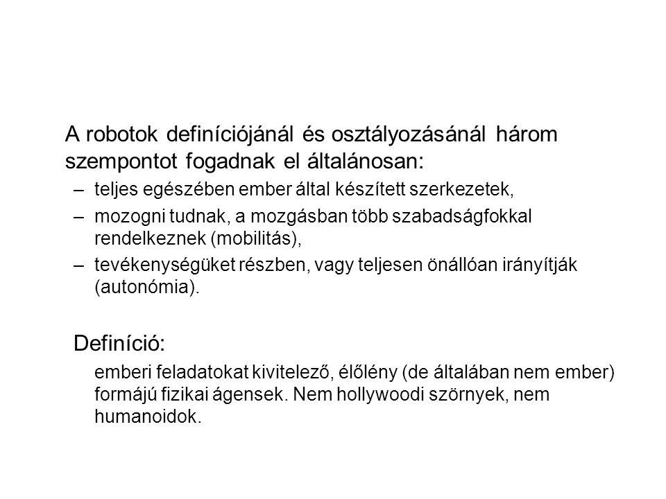 A robotok definíciójánál és osztályozásánál három szempontot fogadnak el általánosan: