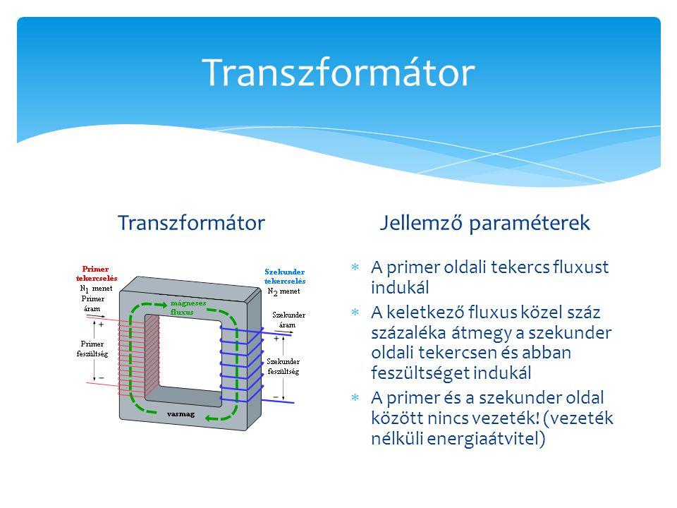 Transzformátor Transzformátor Jellemző paraméterek