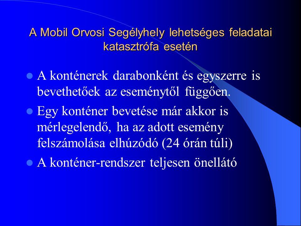 A Mobil Orvosi Segélyhely lehetséges feladatai katasztrófa esetén