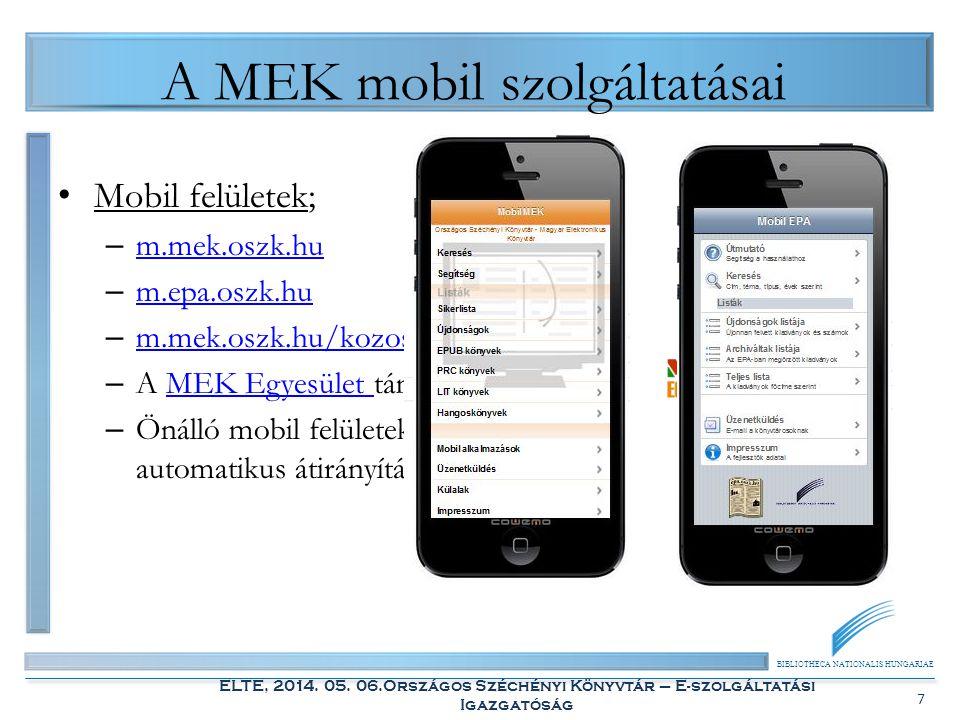 A MEK mobil szolgáltatásai