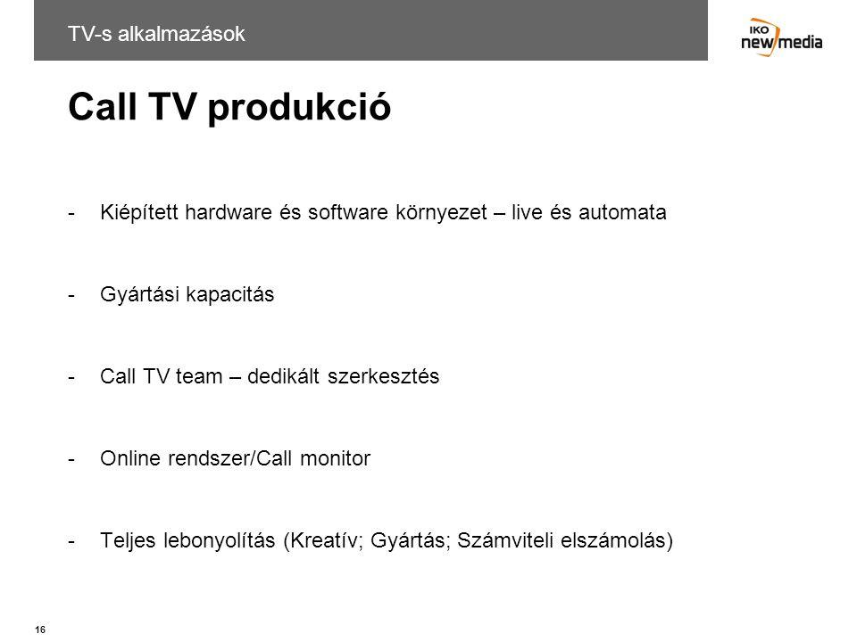 Call TV produkció TV-s alkalmazások