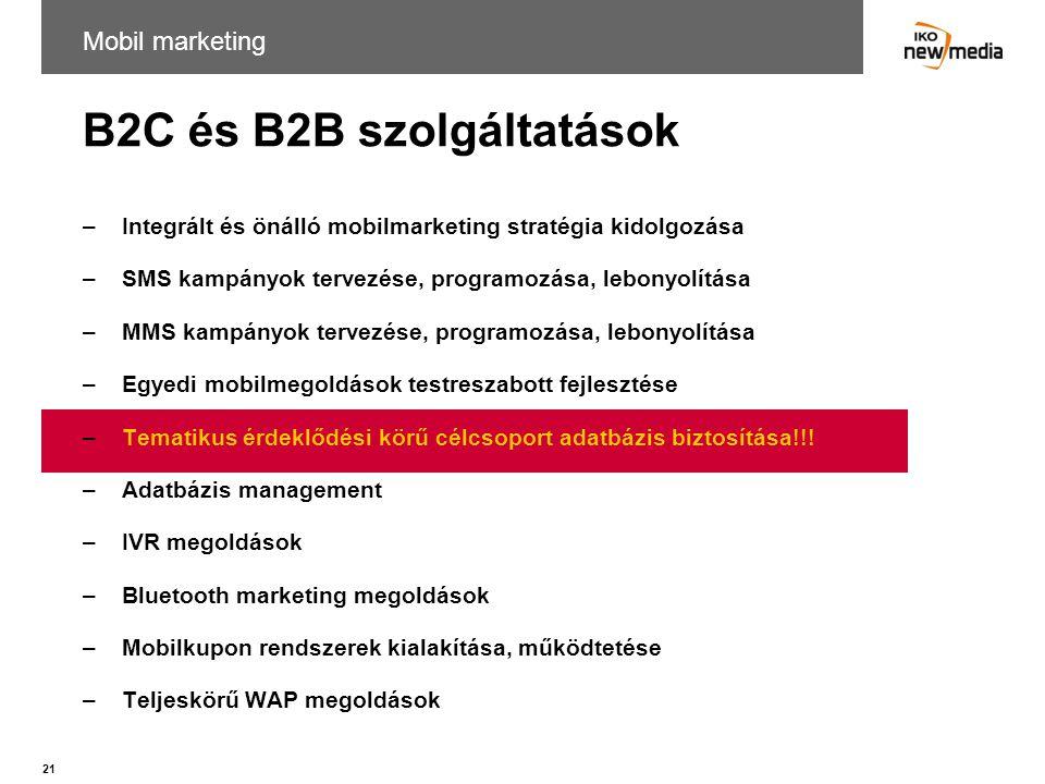 B2C és B2B szolgáltatások