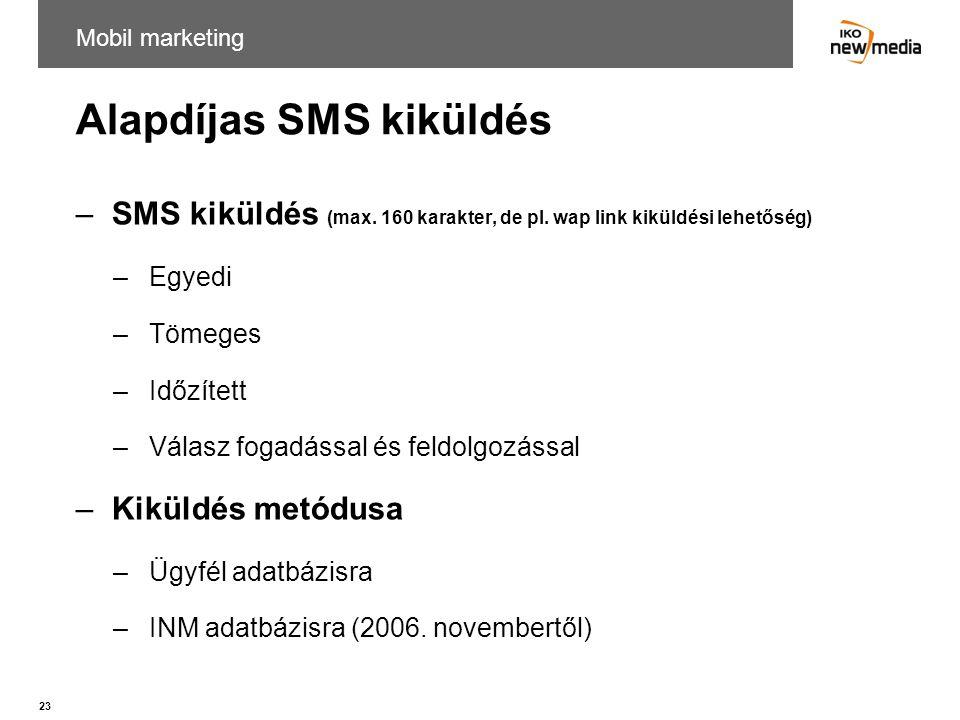 Alapdíjas SMS kiküldés