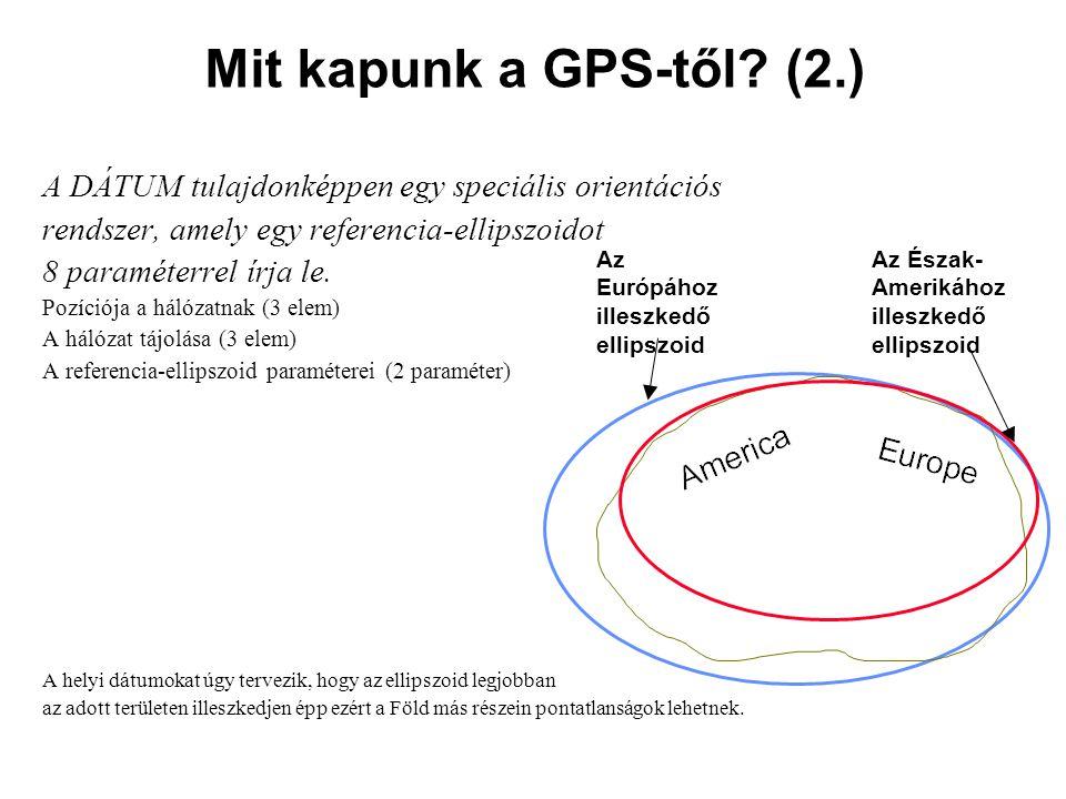 Mit kapunk a GPS-től (2.) A DÁTUM tulajdonképpen egy speciális orientációs. rendszer, amely egy referencia-ellipszoidot.