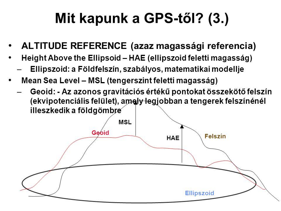 Mit kapunk a GPS-től (3.) ALTITUDE REFERENCE (azaz magassági referencia) Height Above the Ellipsoid – HAE (ellipszoid feletti magasság)