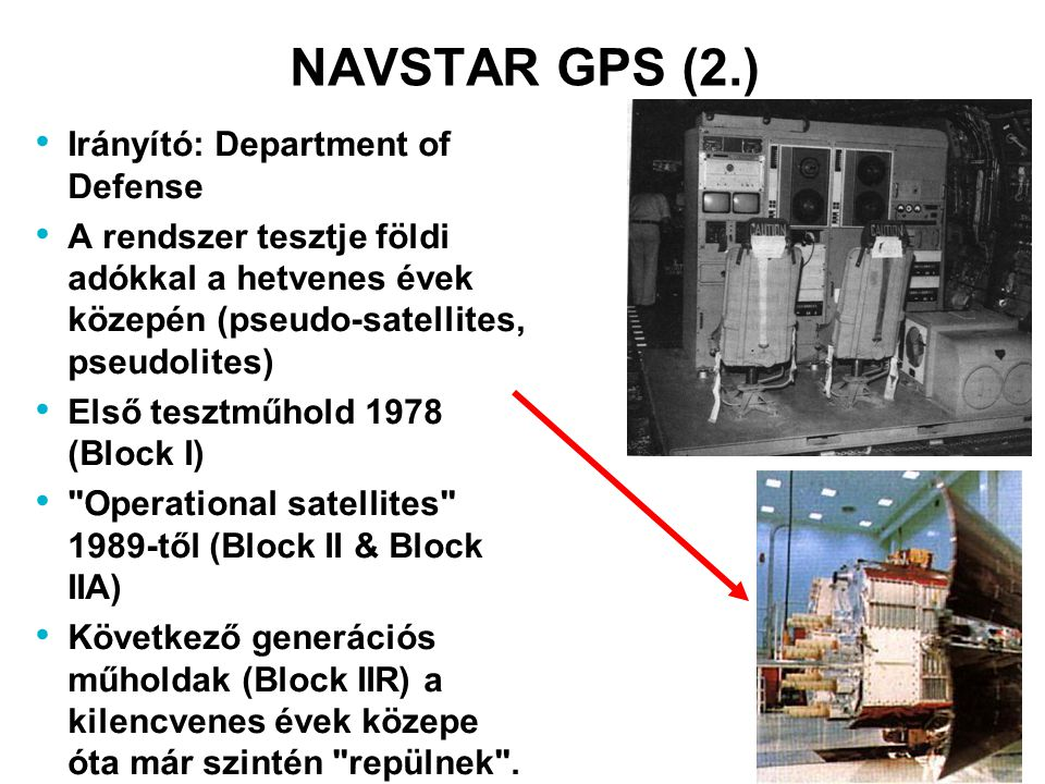NAVSTAR GPS (2.) Irányító: Department of Defense