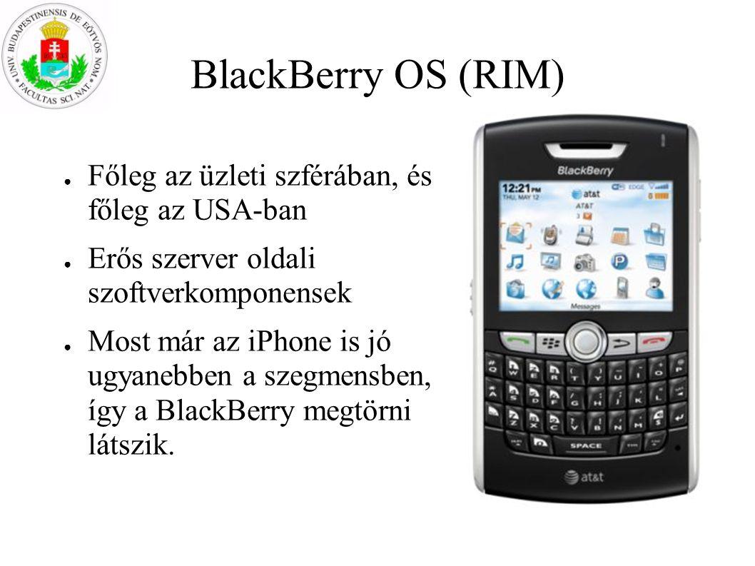 BlackBerry OS (RIM) Főleg az üzleti szférában, és főleg az USA-ban