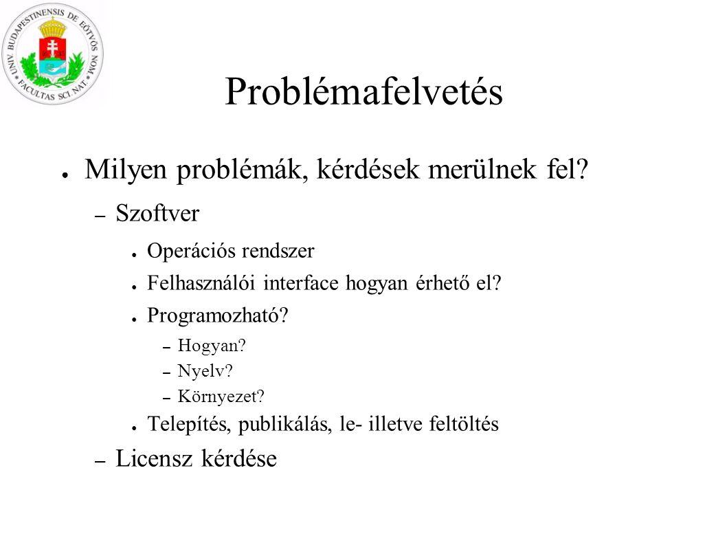 Problémafelvetés Milyen problémák, kérdések merülnek fel Szoftver
