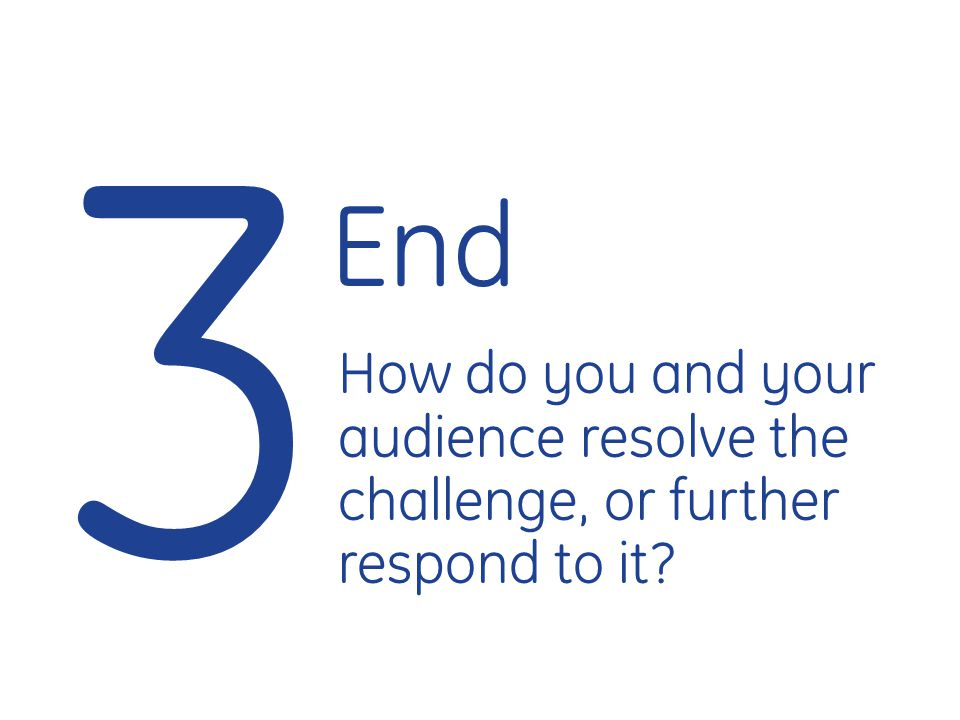 3 End How do you and your audience resolve the challenge, or further respond to it