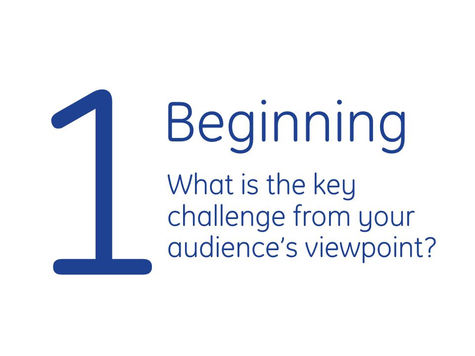 1 Beginning What is the key challenge from your audience's viewpoint