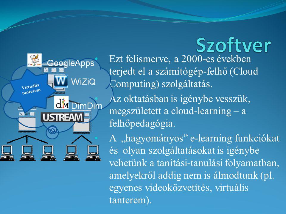 Szoftver Ezt felismerve, a 2000-es években terjedt el a számítógép-felhő (Cloud Computing) szolgáltatás.