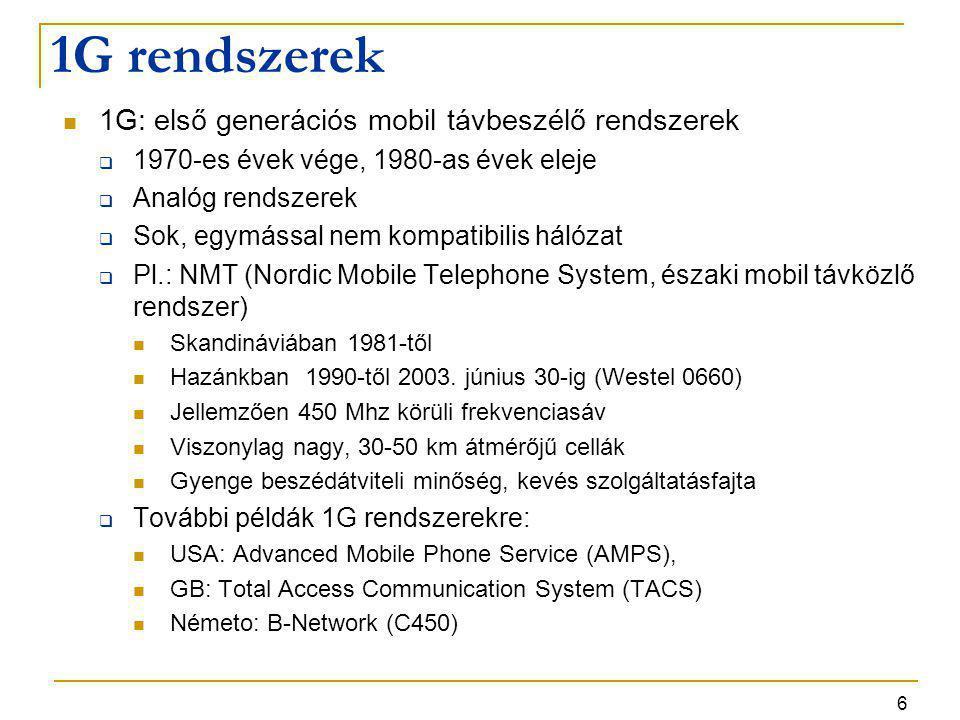 1G rendszerek 1G: első generációs mobil távbeszélő rendszerek