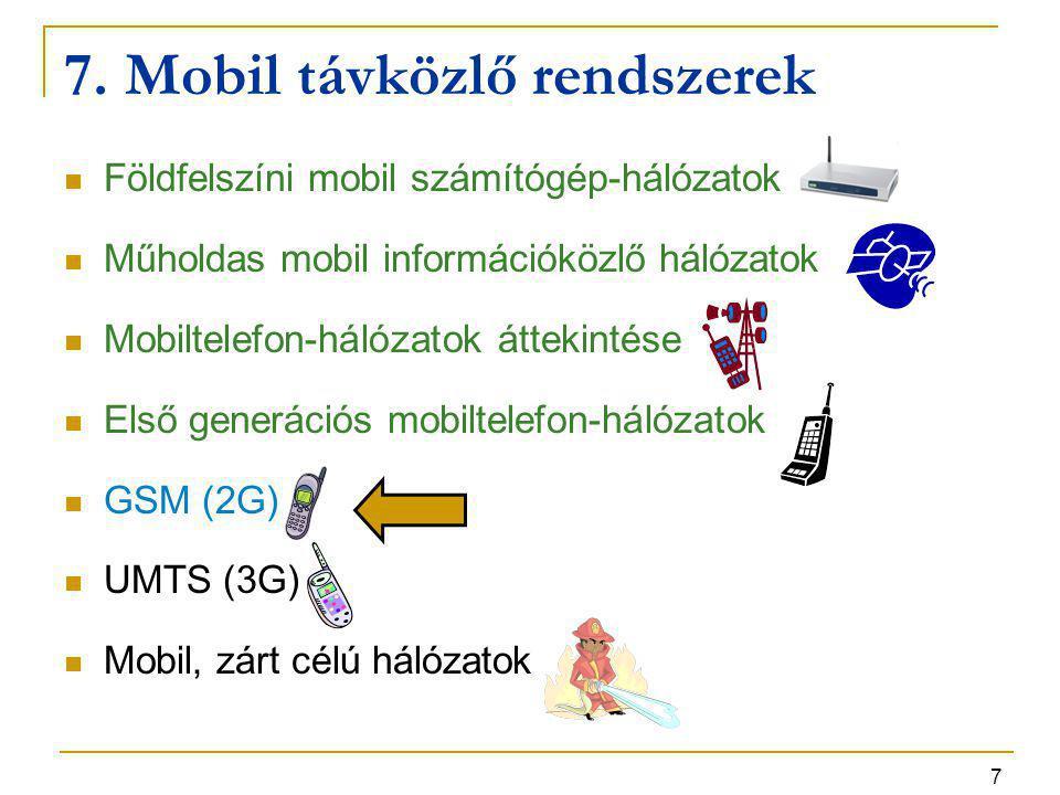 7. Mobil távközlő rendszerek
