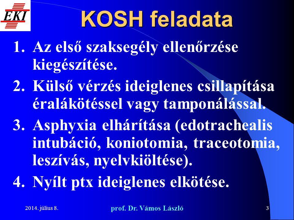 KOSH feladata Az első szaksegély ellenőrzése kiegészítése.