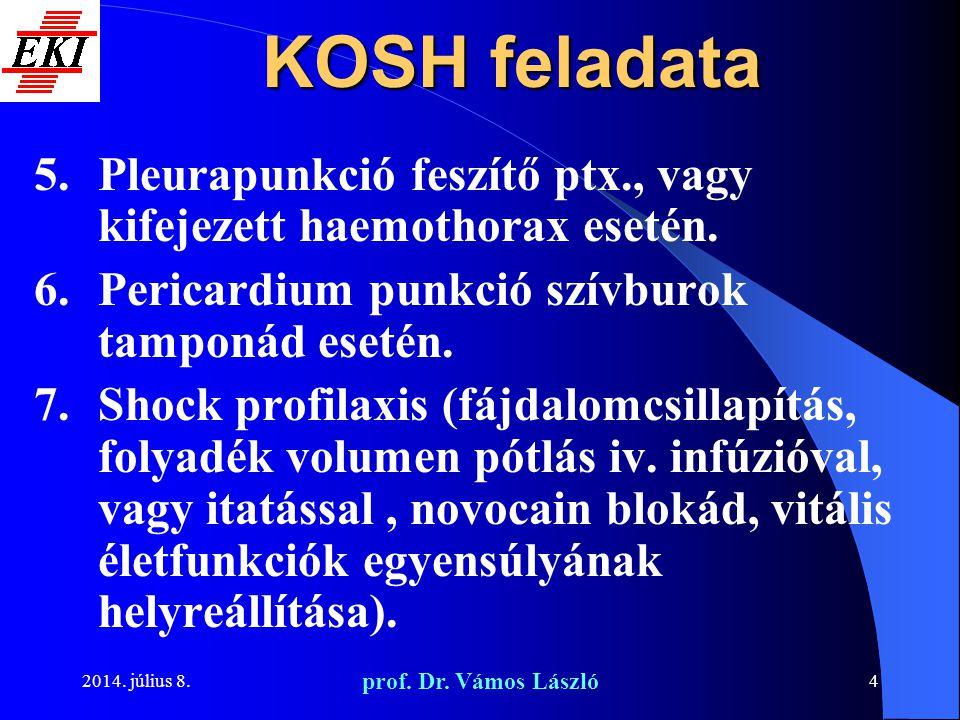 KOSH feladata Pleurapunkció feszítő ptx., vagy kifejezett haemothorax esetén. Pericardium punkció szívburok tamponád esetén.