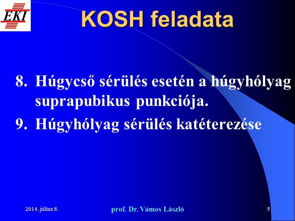 KOSH feladata Húgycső sérülés esetén a húgyhólyag suprapubikus punkciója. Húgyhólyag sérülés katéterezése.