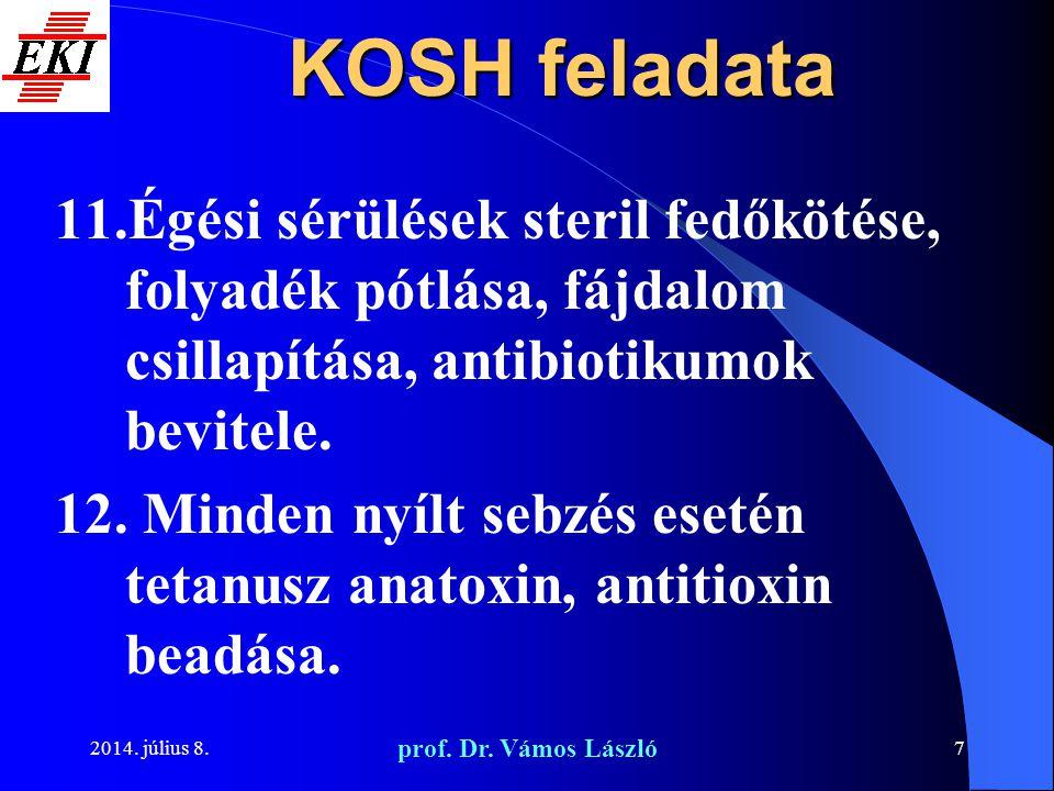 KOSH feladata Égési sérülések steril fedőkötése, folyadék pótlása, fájdalom csillapítása, antibiotikumok bevitele.
