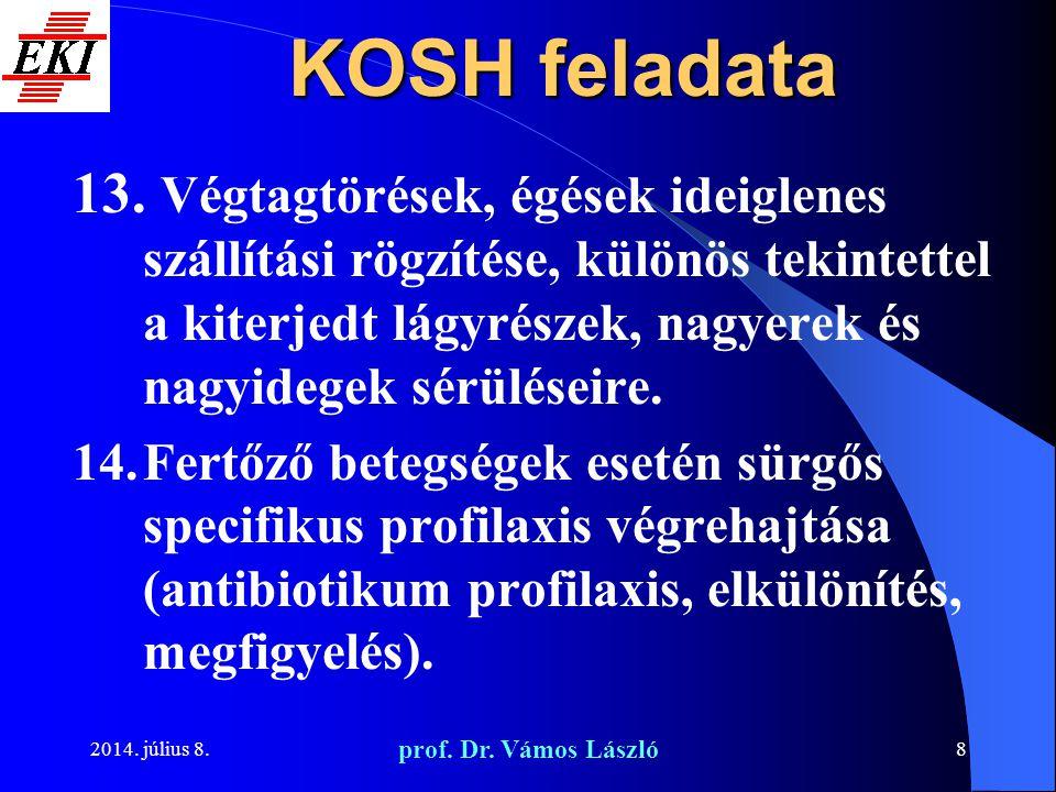 KOSH feladata Végtagtörések, égések ideiglenes szállítási rögzítése, különös tekintettel a kiterjedt lágyrészek, nagyerek és nagyidegek sérüléseire.
