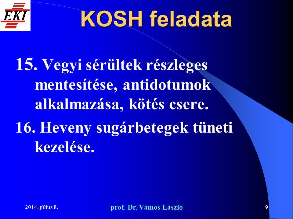 KOSH feladata Vegyi sérültek részleges mentesítése, antidotumok alkalmazása, kötés csere. Heveny sugárbetegek tüneti kezelése.