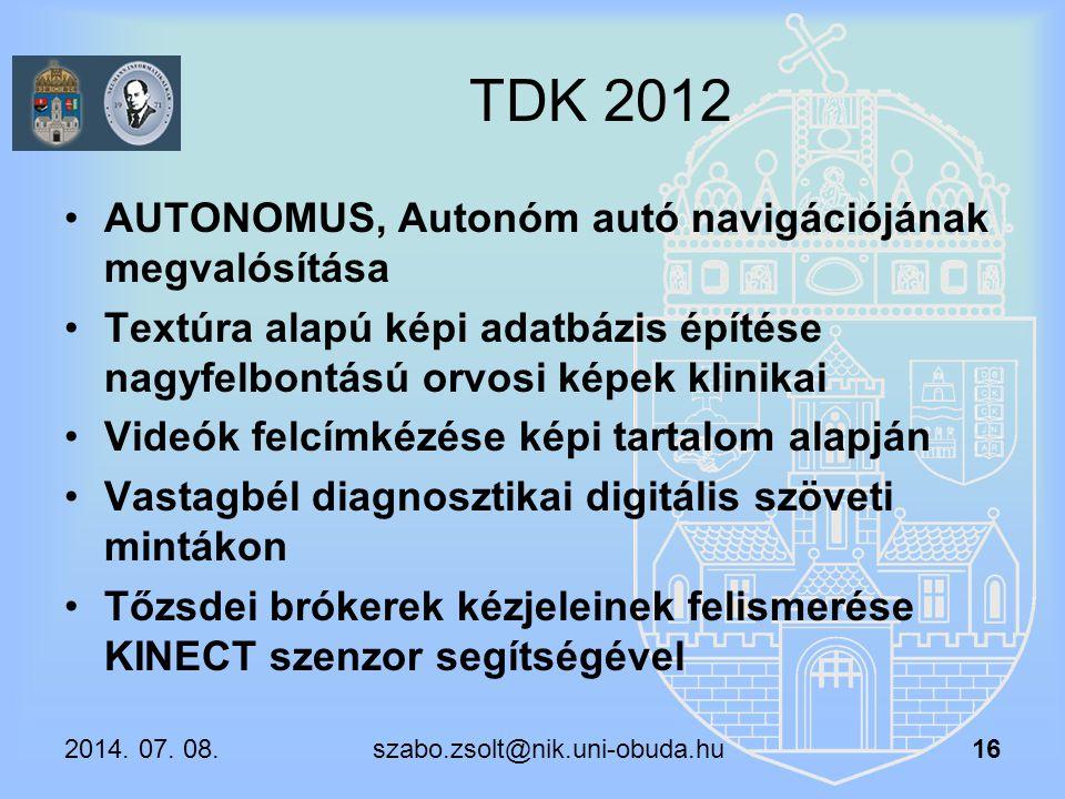 TDK 2012 AUTONOMUS, Autonóm autó navigációjának megvalósítása