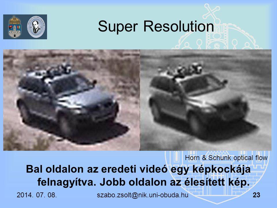 Super Resolution Horn & Schunk optical flow. Bal oldalon az eredeti videó egy képkockája felnagyítva. Jobb oldalon az élesített kép.