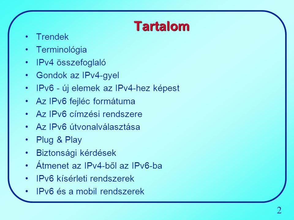 Tartalom Trendek Terminológia IPv4 összefoglaló Gondok az IPv4-gyel