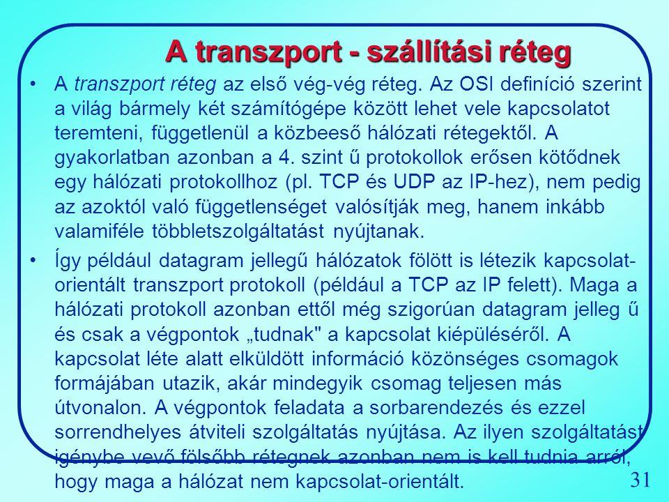 A transzport - szállítási réteg