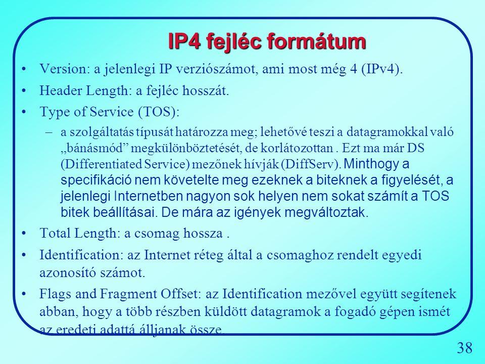 IP4 fejléc formátum Version: a jelenlegi IP verziószámot, ami most még 4 (IPv4). Header Length: a fejléc hosszát.