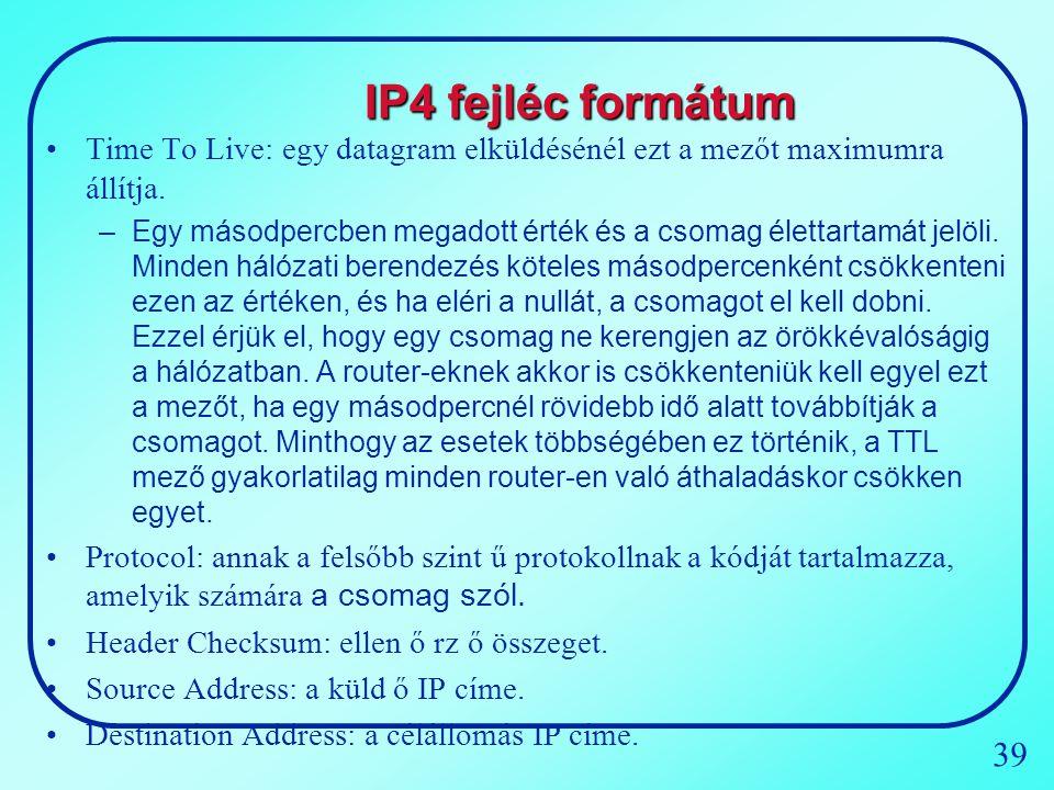 IP4 fejléc formátum Time To Live: egy datagram elküldésénél ezt a mezőt maximumra állítja.