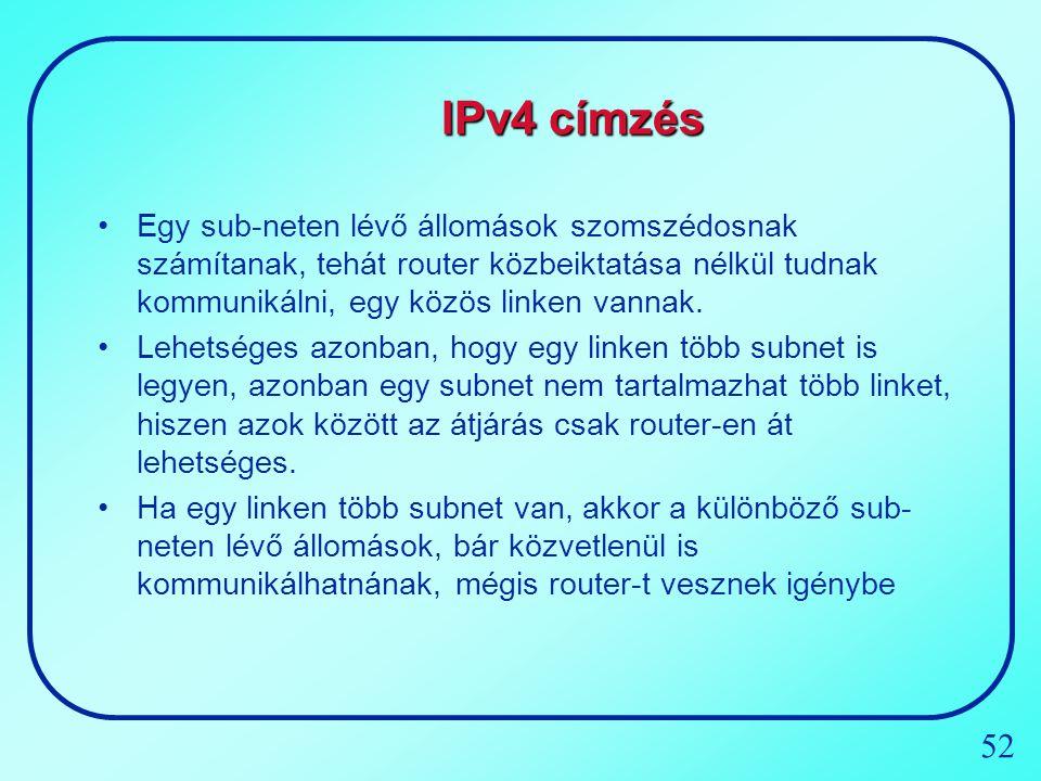 IPv4 címzés Egy sub-neten lévő állomások szomszédosnak számítanak, tehát router közbeiktatása nélkül tudnak kommunikálni, egy közös linken vannak.