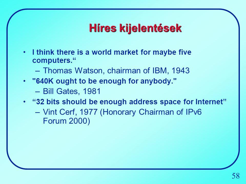 Híres kijelentések Thomas Watson, chairman of IBM, 1943