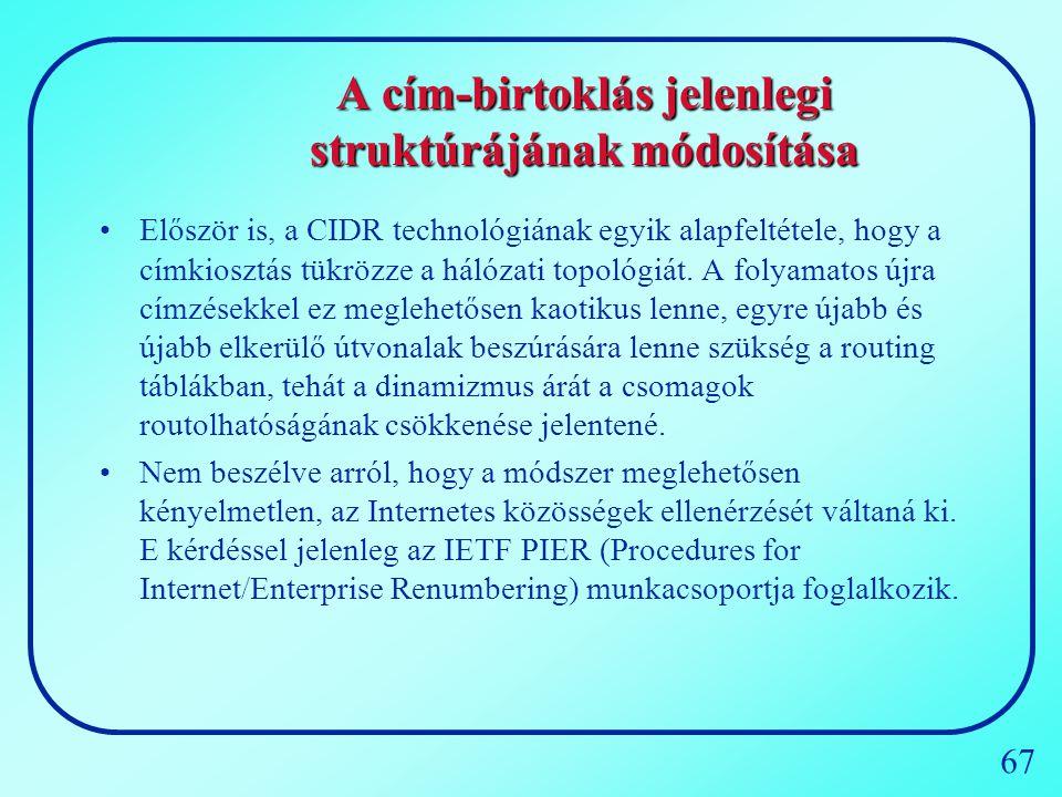 A cím-birtoklás jelenlegi struktúrájának módosítása