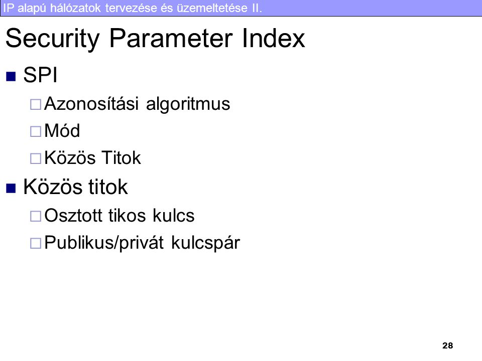 Security Parameter Index