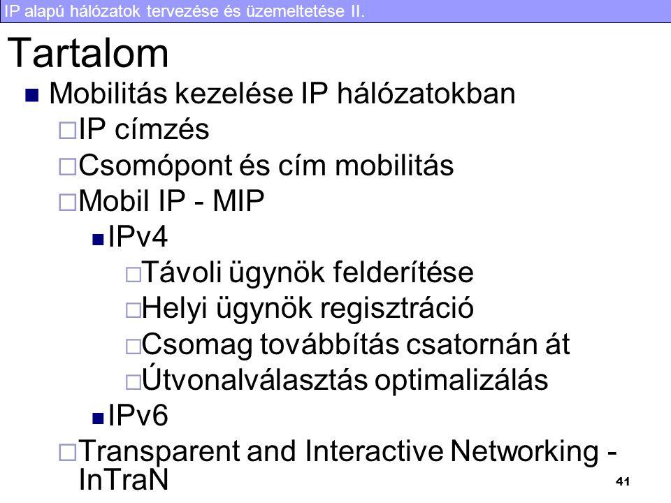 Tartalom Mobilitás kezelése IP hálózatokban IP címzés