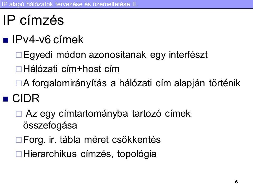 IP címzés IPv4-v6 címek CIDR Egyedi módon azonosítanak egy interfészt